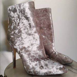 crushed velvet pointed ankle boots